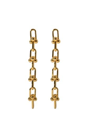 SKEDA gold Long Refined Chain Drop Earrings B4D75AC550DAD8GS_1