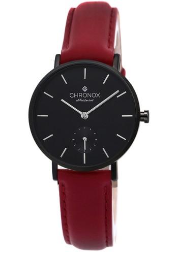 Chronox CX1003 / A4 - Jam Tangan Wanita - Tali Kulit Merah - Hitam