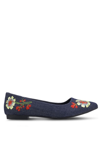 Nose blue Embroidery Flat Pumps NO327SH0RC8YMY_1