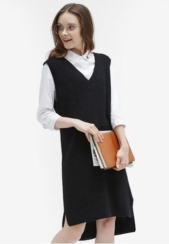 Hopeshow black V-Neck Pinafore Knit Dress 3DCEEAA0B21811GS_1