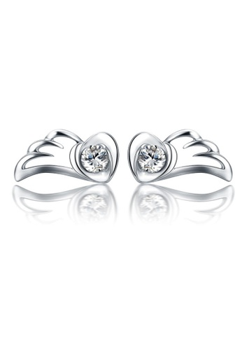 LYCKA silver LFF5209-LYCKA-S925 Siliver White Zircon Angel Wings Earrings-Silver 8143DAC4A492B9GS_1