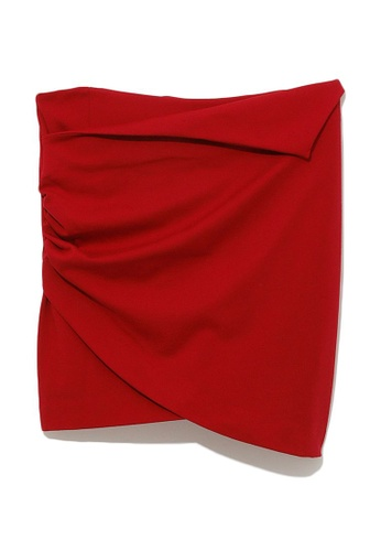 b+ab red Ruched fold-over skirt 7DF1AAA6D566A6GS_1