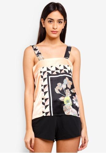 River Island black Floral Print Cami Pyjama Top 68DE8AAB3D4BA2GS_1