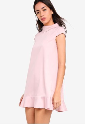 ZALORA pink Mock Neck Dress With Ruffle D9D10AA6335195GS_1