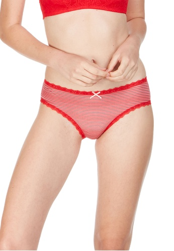 6IXTY8IGHT red Gulid AOP, Allover Strip Hipster Panty PT09948 577C0US8085B2BGS_1