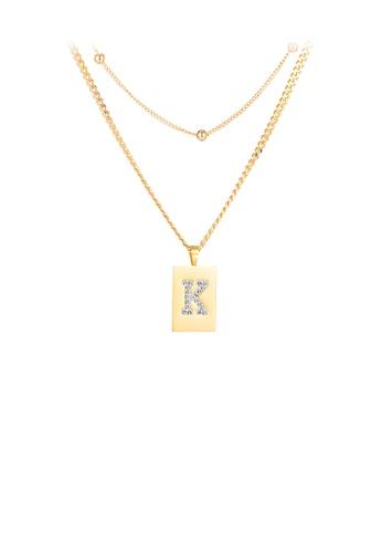 Glamorousky 白色 簡約個性鍍金色幾何矩形英文字母K鋯石316L鋼吊墜配項鏈 F3F2BACECB1D39GS_1
