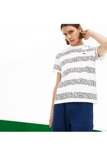 4c9b074de Lacoste white Men's Keith Haring Striped Print Crew Neck Cotton T-shirt -  TH4297-