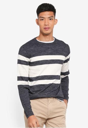 J.Crew 灰色 Cotton Linen Jimmy Stripe Crew Sweatshirt A46F0AAF5CB7F5GS_1