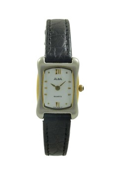 Image of ALBA Jam Tangan Wanita - Black Silver Gold - Leather Strap - ARYL84
