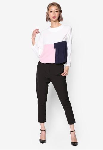 色塊褶飾長袖esprit分店上衣, 服飾, 上衣