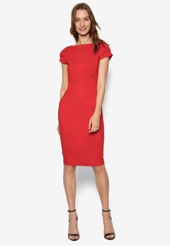 素色salon esprit 香港修身鉛筆連身裙, 服飾, 洋裝