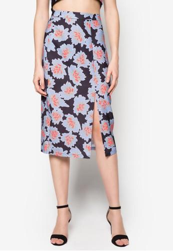 碎花zalora鞋前開衩鉛筆裙, 服飾, 裙子