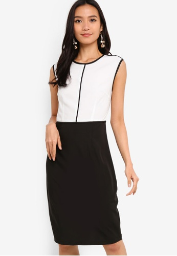 ZALORA 黑色 and 白色 Piping Detailed Sheath Dress 8CFE0AA12A8282GS_1