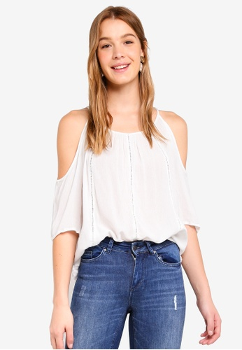 ONLY white Sevanna Cold Shoulder Top C9449AA843CBDFGS_1