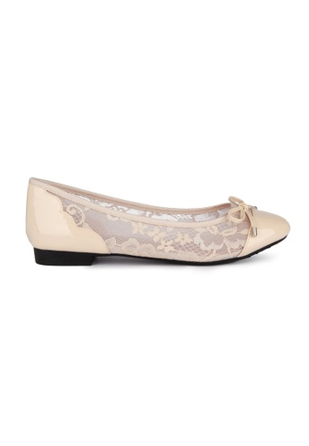 MAUD FRIZON beige Patent Pu Toe Cap Lace Ballerinas With Pu Bow 804DESH97DD329GS_1