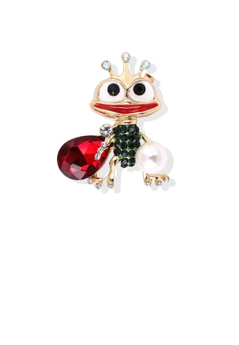 Glamorousky green Creative Personality Plated Gold Frog Prince Brooch with Red Cubic Zirconia 51373AC4FAB0A0GS_1