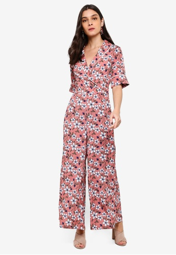 ZALORA pink and multi Piping Details Overlap Jumpsuit 9CBD3AAA05B07AGS_1