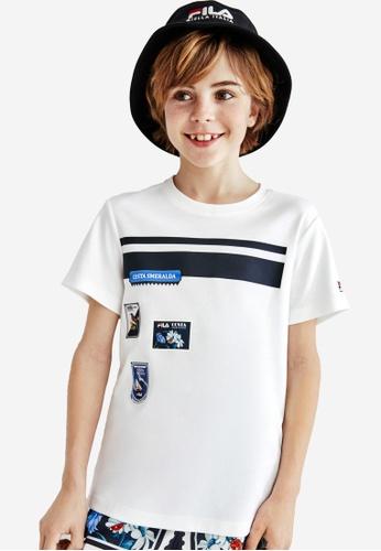 FILA white FILA KIDS Stamp Cotton T-shirt 10-15yrs 328DDKADE3FE38GS_1