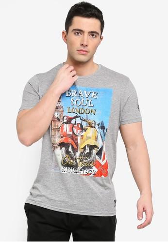 Brave Soul grey Retta Print T-Shirt ED1E4AA4BC61D7GS_1