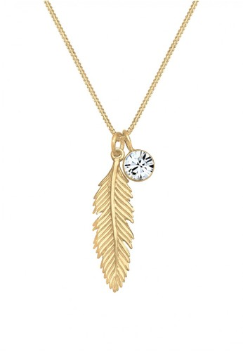 Elli Germany gold Perhiasan Wanita Perak Asli-Silver Feather Swarovski® Lapis Emas Emas BB311AC51431CAGS_1