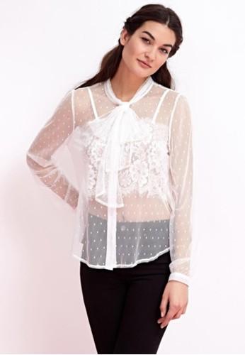 兩esprit retail件式蕾絲領結薄紗, 服飾, 上衣