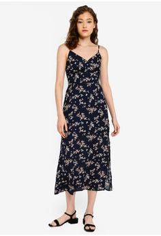 69bc6d22e6 Abercrombie & Fitch blue and navy Wrap Cami Slit Maxi Dress  F6581AAEB54E64GS_1