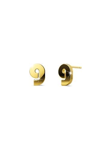 Bullion Gold gold BULLION GOLD Bold Initial Alphabet Letter Earrings Gold Layered Steel Jewellery G D47A3ACFA28F57GS_1
