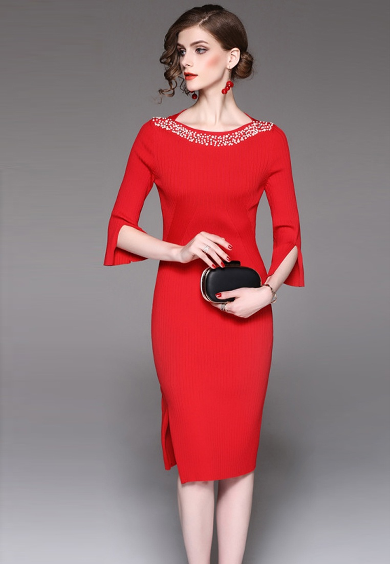 Sunnydaysweety One A092716R Mid Red Sleeves Midi Red Dress F 2017 W Piece nqzxwvX
