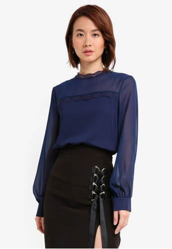 Vesper navy Vesper Marianna Lace Collar Top 3EEE2AA1407CD9GS_1