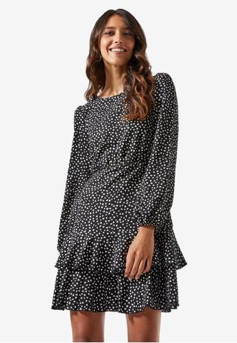 Dorothy Perkins black Black Heart Print Tiered Dress 94BFFAAAC30965GS_1