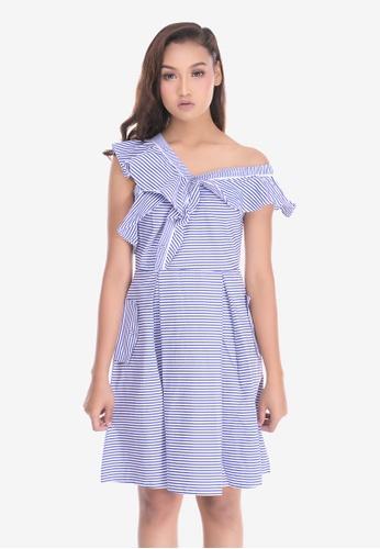 51b36296f4 Cat in the bowl white and blue Stripe Ruffles Off Shoulder Dress  A9E4CAA14FC415GS 1