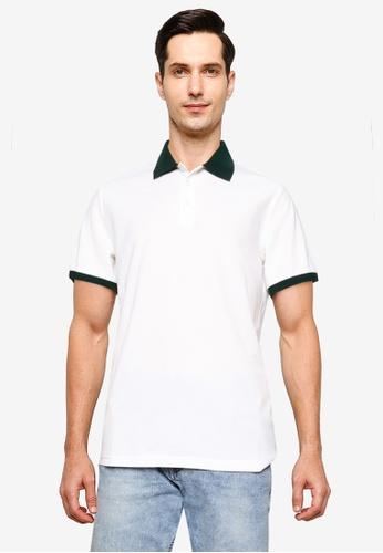 ZALORA BASICS white Contrast Collar Polo Shirt 226A7AAB5782B3GS_1