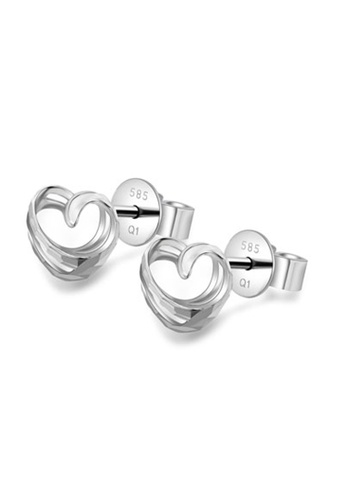 MaBelle silver 14K White Gold Heart Stud Earrings 6834BACDC2DF8FGS_1