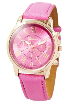 Geneva Celine Leather Strap Watch (Baby Pink)