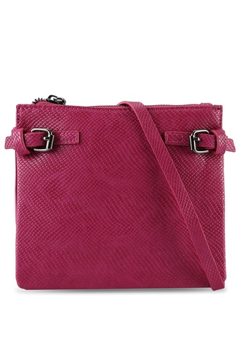 Something Borrowed pink Double Buckle Exotic Crossbody Bag 8F0FEACC60292BGS_1