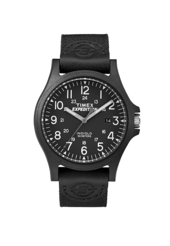 TIMEX black Timex Expedition Acadia - Black Nylon/Leather Strap - Black Case (TW4B08100) TI857AC84LILSG_1