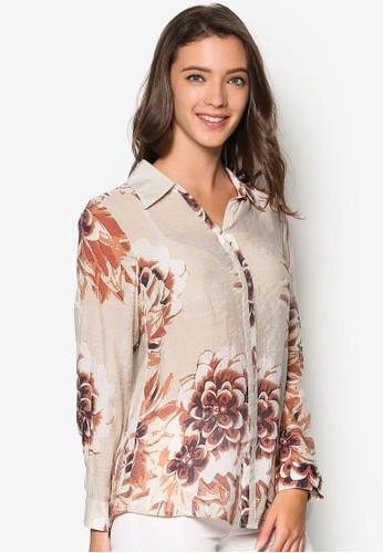 花卉圖案長袖襯衫, 服飾,esprit sg 上衣