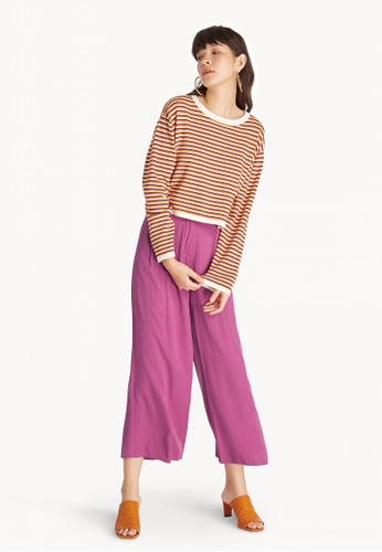 ef08f7e49dea Buy Pomelo Oversized Stripe Sweater - Purple Online on ZALORA Singapore
