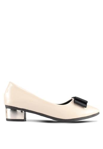 Spiffy beige Casual Formal Shine Low Block Heels 0C2D3SH97F854DGS_1