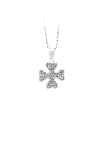 Glamorousky silver 925 Sterling Silver Four-leaf Clover Pendant with White Cubic Zircon and Necklace 592D6AC72FC60AGS_1