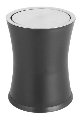 JVD JVD Lifetsyle Bathroom Swivel Top Bin, 8 litres capacity, Stainless steel powder coated black 8CCF6HLF5E59E0GS_1
