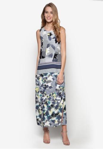 印zalora時尚購物網評價花側開叉連身長裙, 服飾, 夏日洋裝