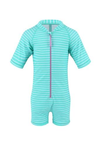 FUNFIT green UPF50+ Junior Sunsuit Half Sleeve (Unisex) in Bubblegum Print D3FC1KABC57132GS_1