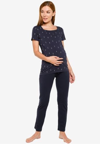 Mama.licious navy Maternity Bea Nell Jersey Pyjamas 1A0F0AAD5C8B4FGS_1