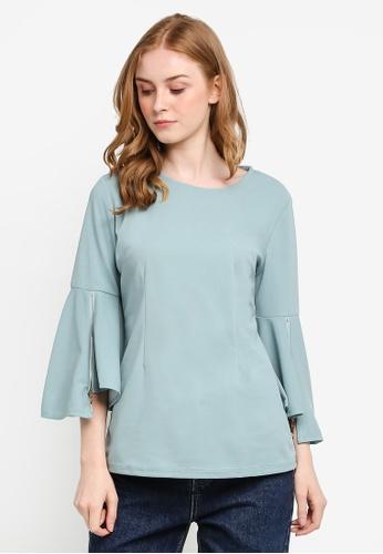peace collections green Long Flare Sleeve Blouse E00EAAA9830B4AGS_1