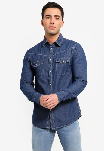 OVS blue Casual Denim Shirt With Pocket 8541CAA4A075D4GS_1