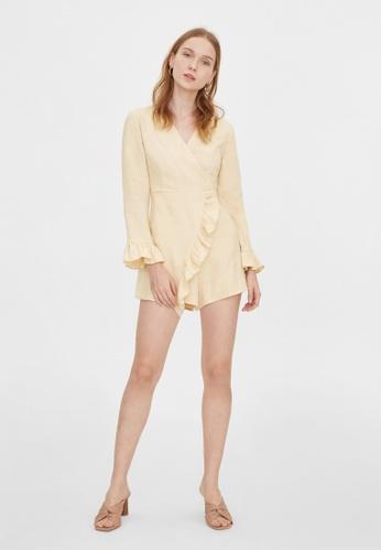 Pomelo beige Purpose Long Sleeves Frill Romper - Beige 6652EAA7684B4CGS_1