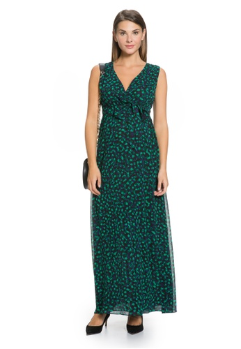 Mayarya green Dotted Print Maternity and Nursing Maxi Dress 7448FAA769E76BGS_1
