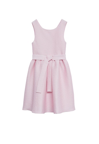 MANGO KIDS pink Tie Jacquard Dress 27572KA1291DE2GS_1