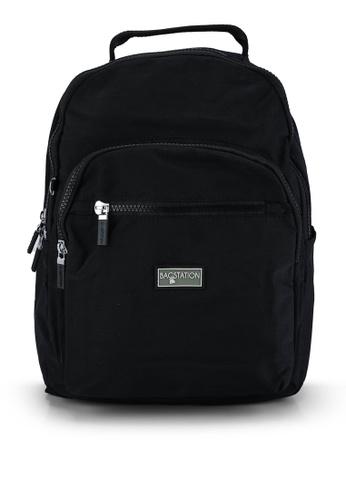 Bagstationz black Contrast Zip Nylon Small Backpack 69D31AC03DDEECGS_1